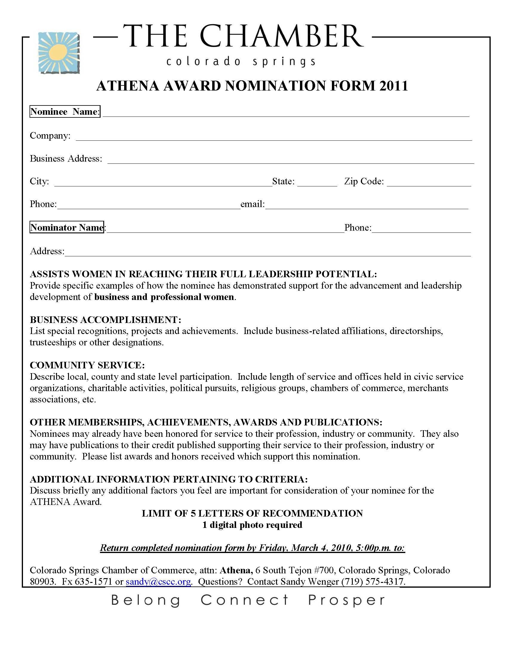 Athena Nomination Form 2011